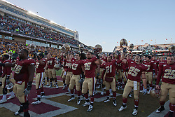 November 20, 2010; Chestnut Hill, MA, USA;  Boston College Eagles players celebrate after the game against the Virginia Cavaliers at Alumni Stadium.  Boston College defeated Virginia 17-13.