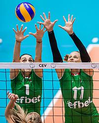 26-08-2017 NED: World Qualifications Bulgaria - Netherlands, Rotterdam<br /> De Nederlandse volleybalsters hebben in Rotterdam het kwalificatietoernooi voor het WK van volgend jaar in Japan ongeslagen afgesloten. Oranje was in z'n laatste wedstrijd met 3-0 te sterk voor Bulgarije: 25-21, 25-17, 25-23. / Diana Nenova #1 of Bulgaria, Hristina Ruseva #11 of Bulgaria