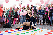 TILBURG - A participant in fancy costume during the 'Pink Monday', the biggest funfair in Tilburg, the Netherlands, 24 July 2017. 'Pink Monday' is a special day for the LGBT (lesbian, gay, bisexual, and transgender) community. Roze Maandag op de Tilburgse Kermis. Roze Maandag begon met een Rozemaandag-karavaan door het centrum van Tilburg. copyrught robin utrecht