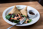 Samosa stuffed with potato, onion, peas, red pepper, and cilantro blended with homemade spices and fried to order at the Hungry Badger Cafe in Madison, WI on Sunday, April 14, 2019.