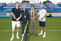 LIVERPOOL, ENGLAND - Thursday, June 16, 2011: Harry Meehan (GBR) and Fernando Gonzalez (CHI) with a sponsor on day one of the Liverpool International Tennis Tournament at Calderstones Park. (Pic by David Rawcliffe/Propaganda)
