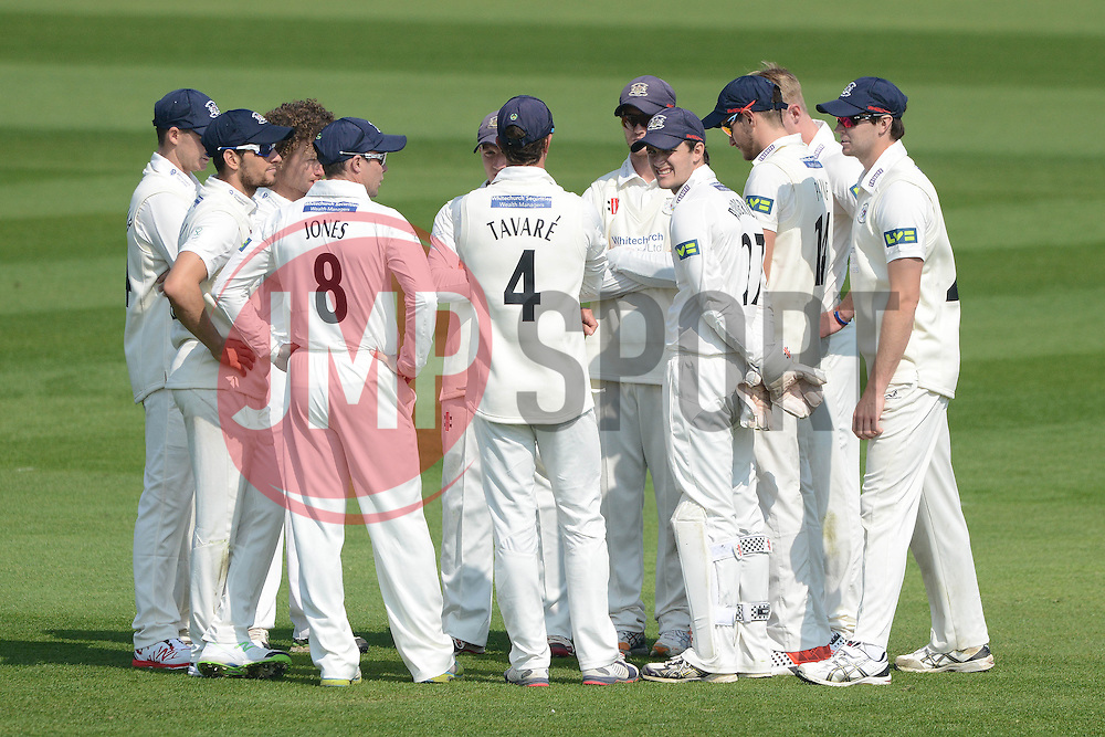 Gloucestershire team talk prior to the game - Photo mandatory by-line: Dougie Allward/JMP - Mobile: 07966 386802 - 09/04/2015 - SPORT - Cricket - Bristol - County Cricket Ground - Gloucestershire County Cricket Club v Cardiff MCCU - Marylebone Cricket Club University Matches