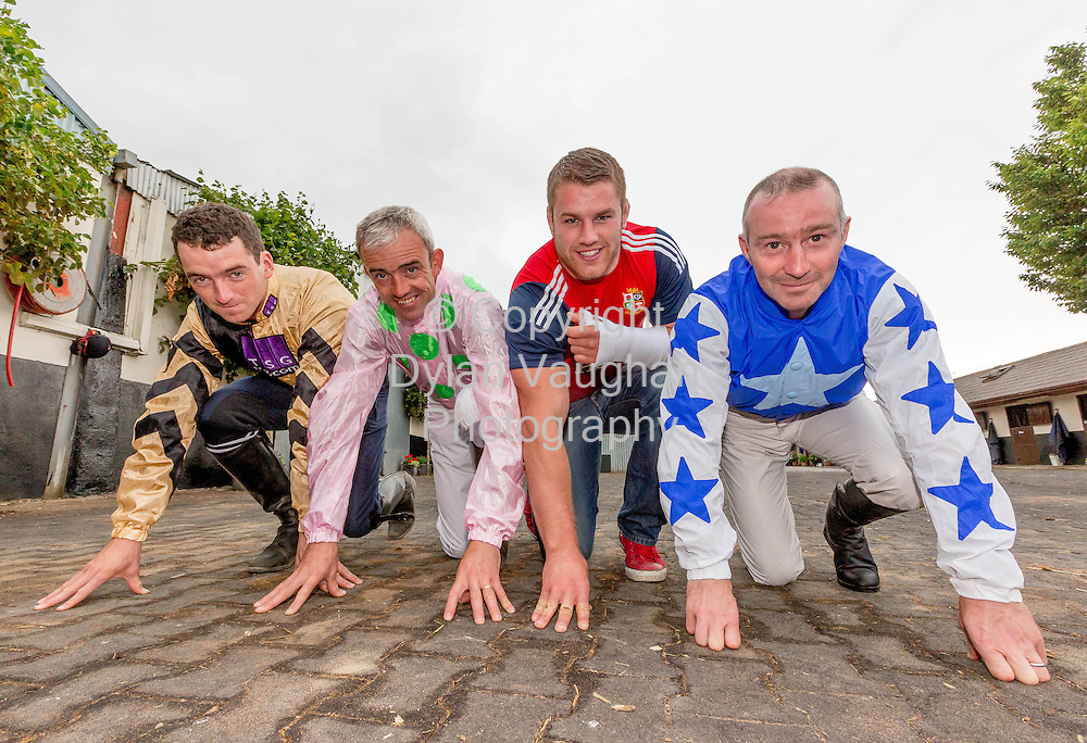Repro free no charge for Repro<br /> <br /> 23/7/2013<br /> <br /> &lsquo;Champion Irish Jockeys Launch Fundraising Marathon&rsquo;<br /> <br /> Launched with the help of top Irish jockeys the event will help over 6,000 family carers across Kilkenny and Carlow<br /> <br />  <br /> <br /> The launch of &lsquo;Carlow Half/Mini Marathon&rsquo; took place this morning with the help of champion Irish jockeys and an Irish rugby hero. The fundraising marathon will help raise vital funds for over 6,000 family carers across Kilkenny and Carlow. The Superbowl Development in Carlow which provides sports facilities to the community will also benefit from the fundraising event. The marathon will take place on September 1st marathon and there will be a fun family day held in the Superbowl Park.<br /> <br /> Pictured at the launch was Patrick Mullins, Ruby Walsh, Sean O'Brien and David Casey.<br /> Picture Dylan Vaughan.<br /> <br /> High profile jockeys, Ruby Walsh, Patrick Mullins, Paul Townsend, David Casey and Willie Mullins along with Irish Rugby hero Sean O&rsquo;Brien came out to support the event which will raise help support the over 6,000 family carers across Carlow and Kilkenny who provide unpaid care in the home each week to frail older people, those terminally ill and with disabilities. Family carers across Ireland save the health budget over four billion euro each year at a time of mass emigration and a rapidly ageing population, the demands on family carers have never been greater.<br />  <br /> <br /> &ldquo;This fundraising event will play a vital role in the development of support &amp; services to family carers in the Carlow and Kilkenny region.  There are over 6,500 Carers registered to date and although we receive allocated funding from government it&rsquo;s not enough to sustain these vital supports particularly in light of recent cuts in funding. We would like to express our thanks to Brook Sports &amp; W.P. Mullins and volunteers Josie Daly and Mary O&rsquo