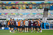 England manager Roy Hodgson talks to his team during the England training session the day before their final Group D match against Costa Rica at Mineirão, Belo Horizonte, Brazil. <br /> Picture by Andrew Tobin/Focus Images Ltd +44 7710 761829<br /> 23/06/2014