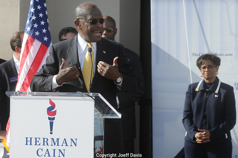 December 3, 2011 - Atlanta, Georgia Herman Cain, the former pizza CEO and talk radio host whose bid to become the GOP presidential nominee faced challenges after a woman claimed she had an affair with the candidate, said today that he was putting his campaign on hold. But from the sound of his speech, his journey to the White House is over.