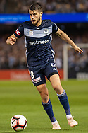 Melbourne Victory midfielder Terry Antonis (8) controls the ball at the Hyundai A-League Round 1 soccer match between Melbourne Victory and Melbourne City FC at Marvel Stadium in Melbourne.