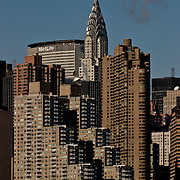 Chrysler Building in New York City skyline seen from the East river, Circle Line Cruise.