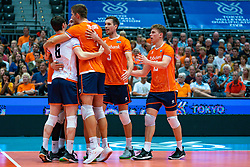 09-08-2019 NED: FIVB Tokyo Volleyball Qualification 2019 / Netherlands, - Korea, Rotterdam<br /> First match pool B in hall Ahoy between Netherlands - Korea (3-2) for one Olympic ticket / Just Dronkers #6 of Netherlands, Thijs Ter Horst #4 of Netherlands, Maarten van Garderen #3 of Netherlands, Gijs van Solkema #15 of Netherlands