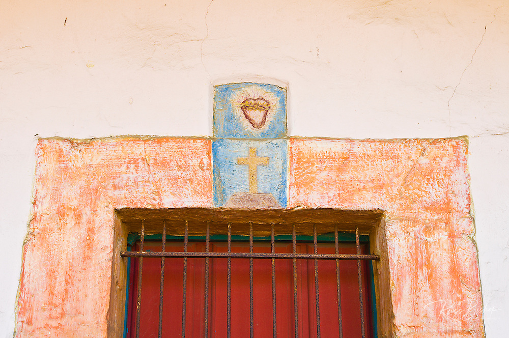 Painted window frame, Santa Barbara Mission (Queen of the missions), Santa Barbara, California