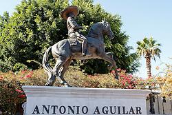 Statue of Antonio Aguilar, near Olivera Street, El Pueblo de Los Angeles Historic Monument, Los Angeles, California, United States of America