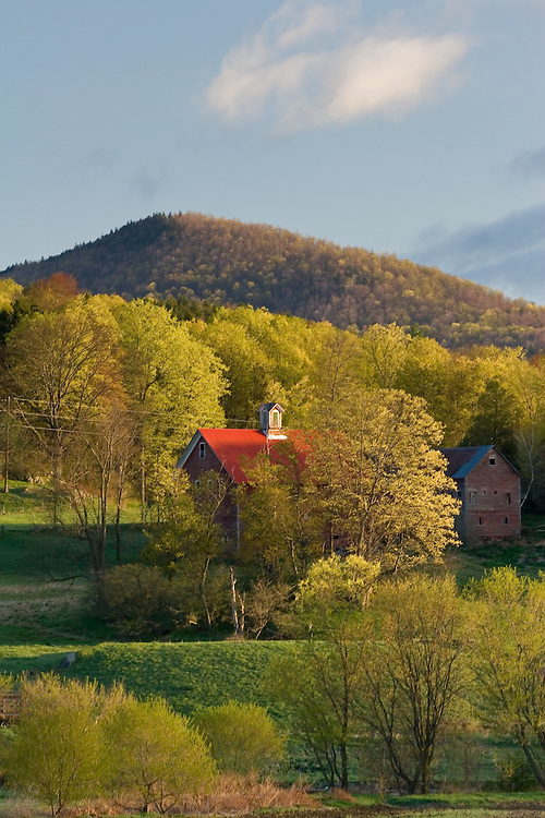Early morning light graces a farm in the Mad River Valley, Waitsfield, VT.