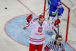 Aron Chmielewski of Poland reacts after scoring first goal for Poland during Ice Hockey match between National Teams of Slovenia and Poland in Round #2 of 2018 IIHF Ice Hockey World Championship Division I Group A, on April 23, 2018 in Budapest, Hungary. Photo by David Balogh / Sportida
