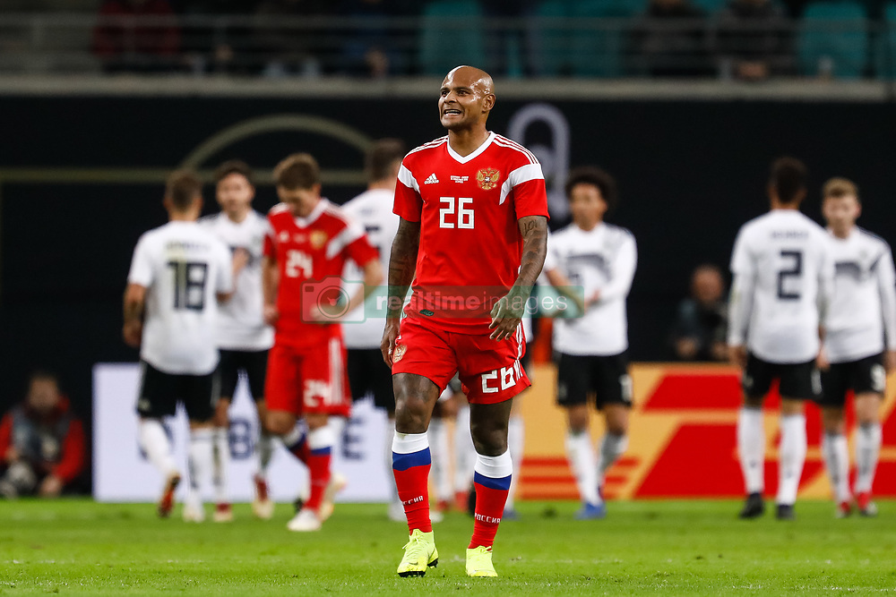 November 15, 2018 - Leipzig, Germany - Ari of Russia reacts as Germany players celebrate a goal in background during the international friendly match between Germany and Russia on November 15, 2018 at Red Bull Arena in Leipzig, Germany. (Credit Image: © Mike Kireev/NurPhoto via ZUMA Press)