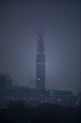 © Licensed to London News Pictures. 22/01/2020. London, UK. Seen from Primerose Hill, BT Tower is swathed in cloud, as the sub zero temperatures come to an end. Photo credit: Peter Macdiarmid/LNP