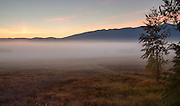 Idaho, Northern, Bonners Ferry. Sunrise and mists on the Kootenai Wildlife Refuge in autumn.