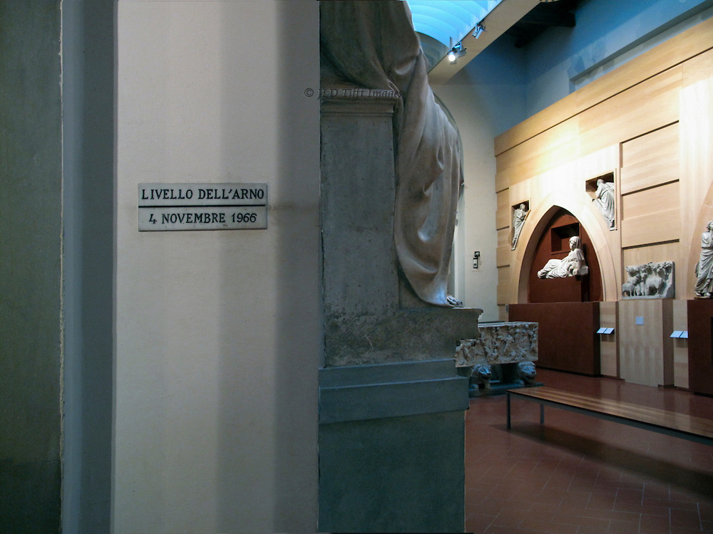 Interior of the Museo dell'Opera del Duomo, showing marker of the maximum height of the 1966 Arno flood.