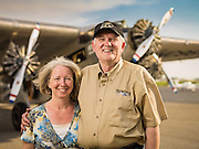 "Peggy and Ashley Messenger.  Ashley is a retired Comair pilot, and together they ""tour"" the Transcontinental Air Transit Ford Tri-Motor around the country.  <br />