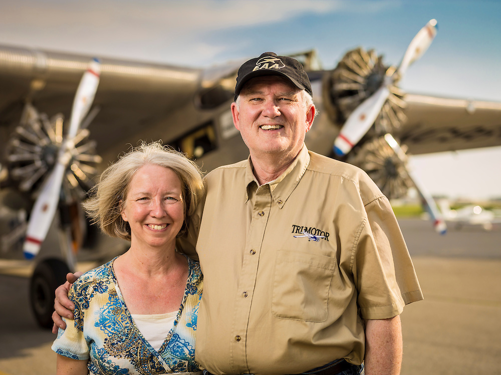 """Peggy and Ashley Messenger.  Ashley is a retired Comair pilot, and together they """"tour"""" the Transcontinental Air Transit Ford Tri-Motor around the country.  Created by aviation photographer John Slemp of Aerographs Aviation Photography. Clients include Goodyear Aviation Tires, Phillips 66 Aviation Fuels, Smithsonian Air & Space magazine, and The Lindbergh Foundation.  Specialising in high end commercial aviation photography and the supply of aviation stock photography for commercial and marketing use."""