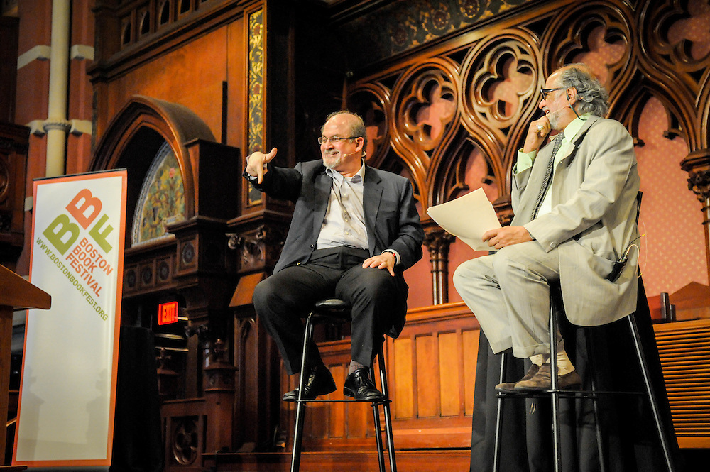 Author Salman Rushdie in conversation with Harvard professor Homi Bhabha during the Keynote for the Boston Book Festival held at Old South Church in Boston's Back Bay.