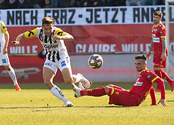 16.02.2019, TGW Arena, Pasching, AUT, OeFB Uniqa Cup, LASK vs SKN St. Pölten, Viertelfinale, im Bild v.l. James Holland (LASK), Eldis Bajrami (SKN St.Poelten) // during the quaterfinal match of the ÖFB Uniqa Cup between LASK and SKN St. Pölten at the TGW Arena in Pasching, Austria on 2019/02/16. EXPA Pictures © 2019, PhotoCredit: EXPA/ Reinhard Eisenbauer