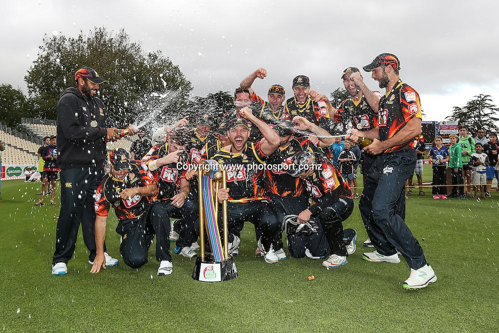 The Wellington Firebirds team photo after winning the Deorgie Pie Super Smash T20 cricket Final - Firebirds v Aces at Seddon Park, Hamilton, New Zealand on Sunday 7 December 2014.  Photo: Bruce Lim / www.photosport.co.nz