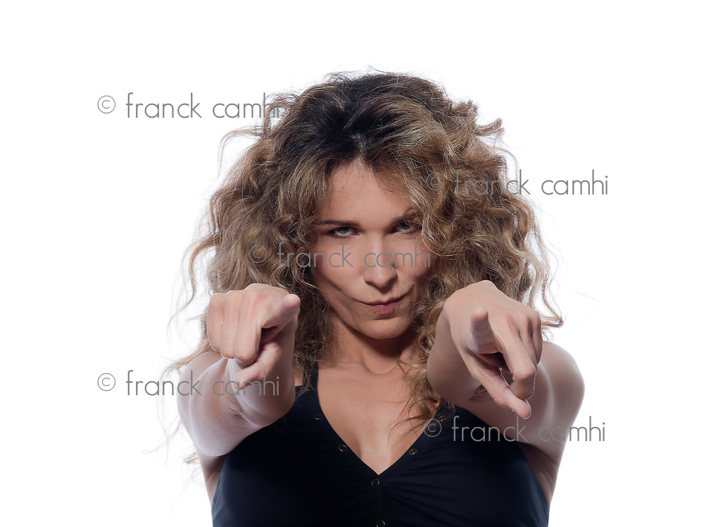 beautiful caucasian woman pointing suspicious portrait isolated studio on white background