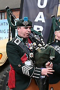 Guards Pipes and drums entertain the crowd at The Randox Health Grand National on Grand National Day at at Aintree, Liverpool, United Kingdom on 14 April 2018. Picture by Craig Galloway.