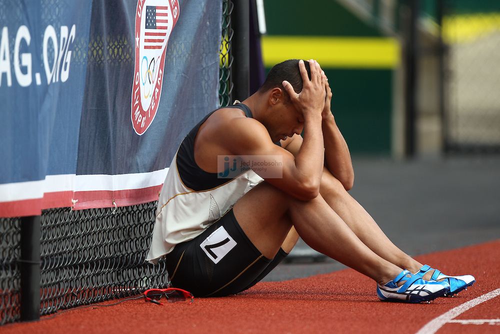 Bryan Clay looks on after competing in the 110m hurdles for the Decathlon during day 2 of the U.S. Olympic Trials for Track & Field at Hayward Field in Eugene, Oregon, USA 23 Jun 2012..(Jed Jacobsohn/for The New York Times)....