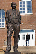 FAYETTEVILLE, AR - April 11:  J. William Fulbright statue behind Old Main Building on the campus of the University of Arkansas on April 11, 2007 in Fayetteville, Arkansas.   (Photo by Wesley Hitt/Getty Images) *** Local Caption ***