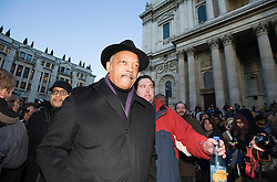 © Licensed to London News Pictures. 15/12/2011. London, UK. African-American civil rights activist and Baptist minister Reverend Jesse Jackson  speaking at the Occupy London Stock Exchange camp outside St Paul's Cathedral in London Today (15/12/2011). Photo credit: Ben Cawthra/LNP
