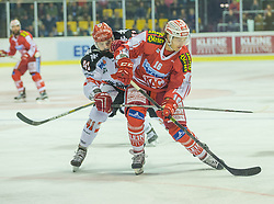 02.10.2015, Stadthalle, Klagenfurt, AUT, EBEL, EC KAC vs HC TWK Innsbruck Die Haie, im Bild Benedikt Schennach (HC TWK Innsbruck Die Haie #41), Patrick Harand (EC KAC, 16) // during the Erste Bank Eishockey League match betweeen EC KAC and HC TWK Innsbruck Die Haie at the City Hall in Klagenfurt, Austria on 2015/190/02. EXPA Pictures © 2015, PhotoCredit: EXPA/ Gert Steinthaler