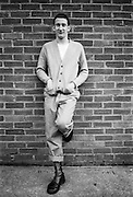 Gavin Leaning on a Brick Wall, Hawthorne Road, High Wycombe, UK, 1980s.