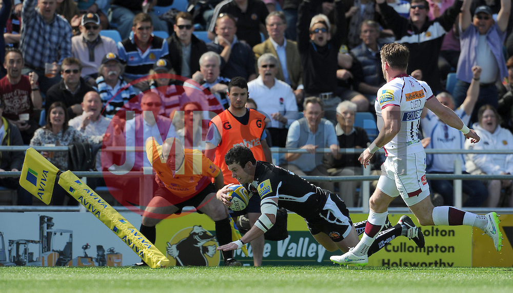 Exeter Chiefs Ian Whitten goes over for a try Photo mandatory by-line: Harry Trump/JMP - Mobile: 07966 386802 - 16/05/15 - SPORT - RUGBY - Aviva Premiership - Exeter Chiefs v Sale Sharks - Sandy Park, Exeter, England.