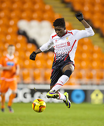 BLACKPOOL, ENGLAND - Wednesday, December 18, 2013: Liverpool's Sheyi Ojo in action against Blackpool during the FA Youth Cup 3rd Round match at Bloomfield Road. (Pic by David Rawcliffe/Propaganda)