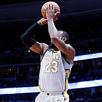 07 March 2018: Cleveland Cavaliers forward LeBron James (23) takes a jump shot during the Cleveland Cavaliers 113-108 victory over the Denver Nuggets, at the Pepsi Center, Denver, Colorado, USA.