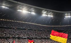 06.09.2013, Allianz Arena, Muenchen, AUT, FIFA WM Qualifikation, Deutschland vs Oesterreich, im Bild die Deutsche Nationalflagge, dahinter die Zuschauer // during the FIFA World Cup Qualifier Match between Germany and Austria at the Allianz Arena, Munich, Germany on 2013/09/06. EXPA Pictures © 2013, PhotoCredit: EXPA/ Juergen Feichter