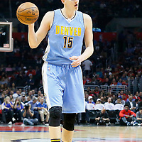 24 February 2016: Denver Nuggets center Nikola Jokic (15) looks to pass the ball during the Denver Nuggets 87-81 victory over the Los Angeles Clippers, at the Staples Center, Los Angeles, California, USA.
