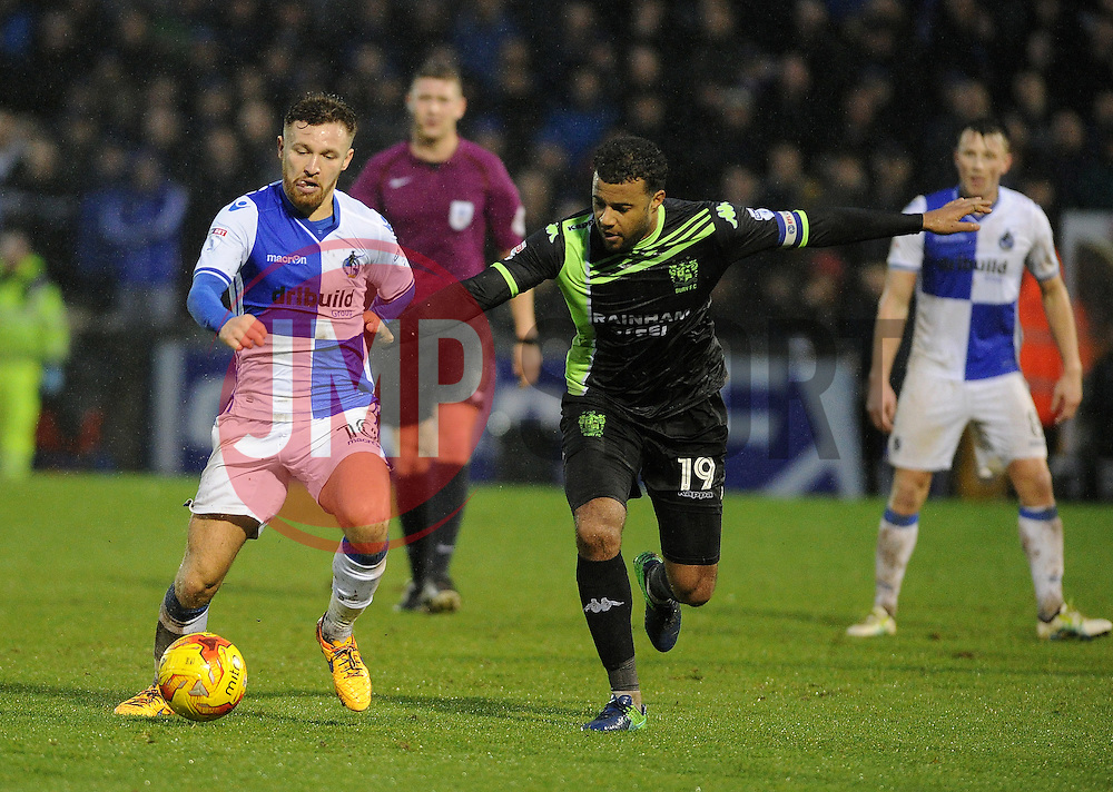 Matt Taylor of Bristol Rovers is challenged by Tom Soares of Bury - Mandatory by-line: Neil Brookman/JMP - 10/12/2016 - FOOTBALL - Memorial Stadium - Bristol, England - Bristol Rovers v Bury - Sky Bet League One