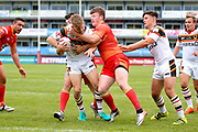 Bradford Bulls scrum half Joe Keyes (7) is stopped short  during the Kingstone Press Championship match between Sheffield Eagles and Bradford Bulls at, The Beaumont Legal Stadium, Wakefield, United Kingdom on 3 September 2017. Photo by Simon Davies.