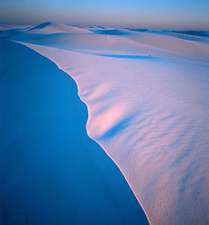 Vertical image of dune line at twilight with deep blue and rose hues glowing