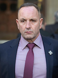 © Licensed to London News Pictures. 11/12/2019. London, UK. Mark Tipper, brother of Trooper Simon Tipper - who was killed in the Hyde Park bombing in 1982, arrives at The High Court where a civil case against convicted IRA member John Downey is going ahead. A previous criminal case against Downey at The Old Bailey collapsed in 2014 after it emerged he had received a so-called 'on the run' letter dating back to 2007 as part of the Good Friday Agreement peace deal. The Hyde Park bombing in July 1982 killed Squadron Quartermaster Corporal Roy Bright, Lieutenant Anthony Daly, Lance Corporal Jeffrey Young and Trooper Simon Tipper. Photo credit: Peter Macdiarmid/LNP