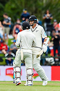 Tim Southee of the Black Caps gets to 50 runs with BJ Watling of the Black Caps  during Day1 of the cricket test match, Black Caps v Sri Lanka, Hagley Oval, Christchurch, New Zealand, 26th December 2018.Copyright photo: John Davidson / www.photosport.nz