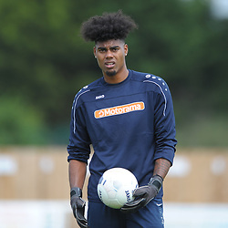 TELFORD COPYRIGHT MIKE SHERIDAN Corey Addai of AFC Telford (on loan from Coventry City) during the National League North fixture between Kettering Town and AFC Telford United at Latimer Park on Saturday, August 3, 2019<br /> <br /> Picture credit: Mike Sheridan<br /> <br /> MS201920-005