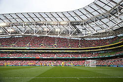 DUBLIN, REPUBLIC OF IRELAND - Wednesday, May 14, 2014: Liverpool supporters during a postseason friendly match against Shamrock Rovers at Lansdowne Road. (Pic by David Rawcliffe/Propaganda)