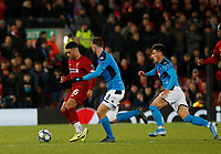 Football - 2019 / 2020 UEFA Champions League - Group E: Liverpool vs. Napoli<br /> <br /> Alex Oxlade-Chamberlain of Liverpool goes pastFabián of SSC Napoli  in midfield, at Anfield.<br /> <br /> COLORSPORT/ALAN MARTIN