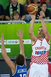 Bojan Bogdanovic #7 of Croatia shoots against Marco Belinelli #10 of Italy during basketball match between national team of Croatia and Italy of Eurobasket 2013 on September 14, 2013 in SRC Stozice, Ljubljana, Slovenia. (Photo By Matic Klansek Velej / Sportida.com)