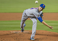 New York Mets starting pitcher Jacob deGrom (48) faces the Miami Marlins in the first inning of tonight's game at Marlins Park in Miami, Saturday, June 30, 2018.