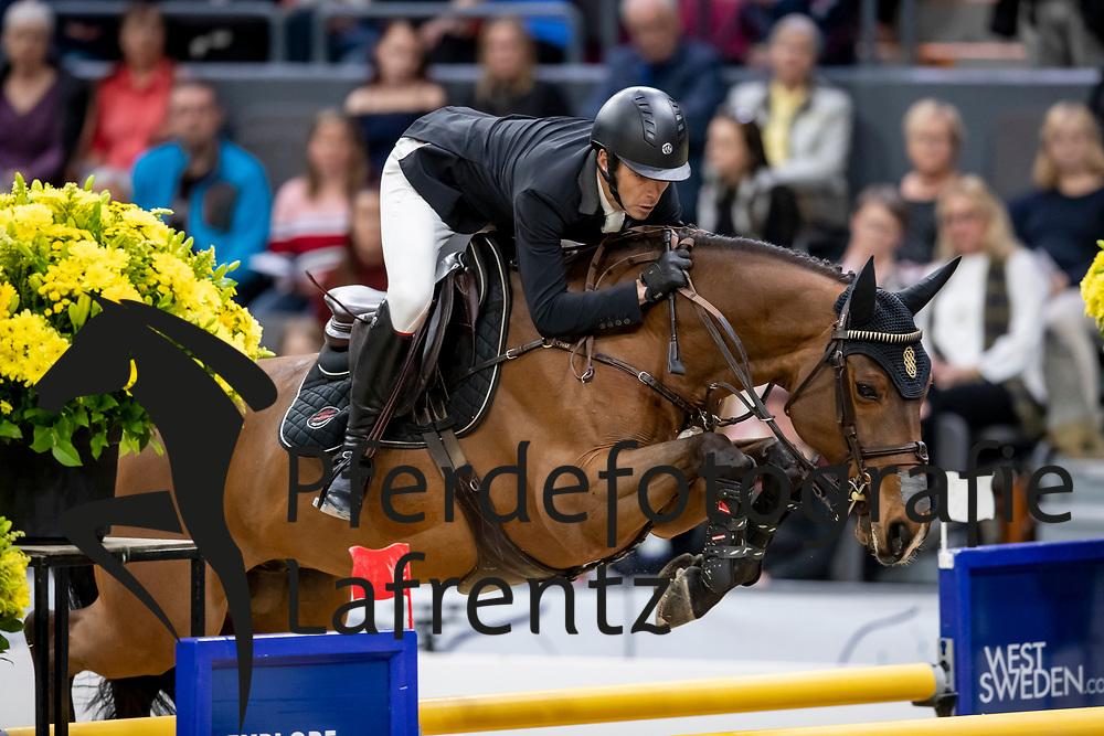 ALVAREZ AZNAR Eduardo (ESP), Rokfeller de Pleville Bois Margot<br /> Göteborg - Gothenburg Horse Show 2019 <br /> Longines FEI World Cup™ Final II<br /> Int. jumping competition with jump-off (1.50 - 1.60 m)<br /> Longines FEI Jumping World Cup™ Final and FEI Dressage World Cup™ Final<br /> 05. April 2019<br /> © www.sportfotos-lafrentz.de/Stefan Lafrentz