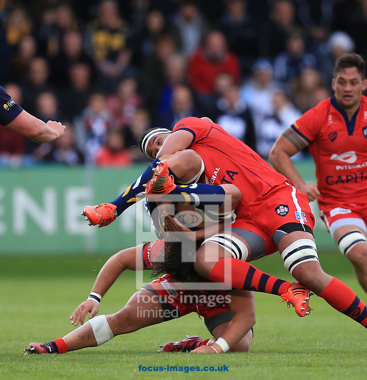 Mike Williams of Worcester Warriors is upended by two Bristol players during the second leg of the Greene King IPA Championship Final at Sixways Stadium, Worcester<br /> Picture by Michael Whitefoot/Focus Images Ltd 07969 898192<br /> 27/05/2015