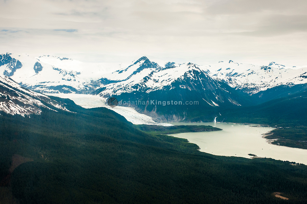 Aerial view of the Mendenhall Glacier near Juneau, Alaska.